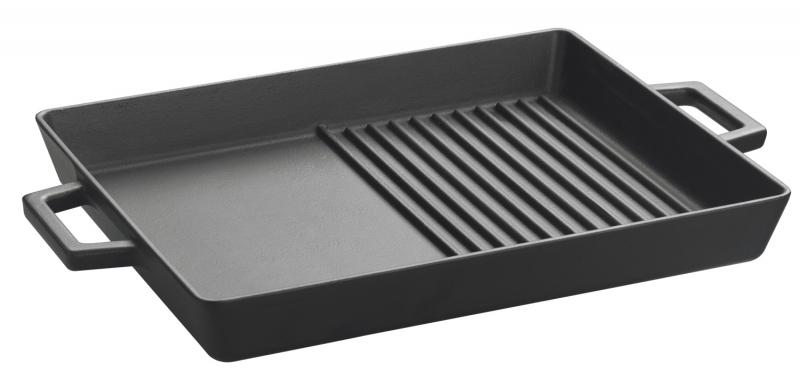 Grill platte duo tief 26 x 32cm mit integrierten metallgriffen for Grillplatte für induktion