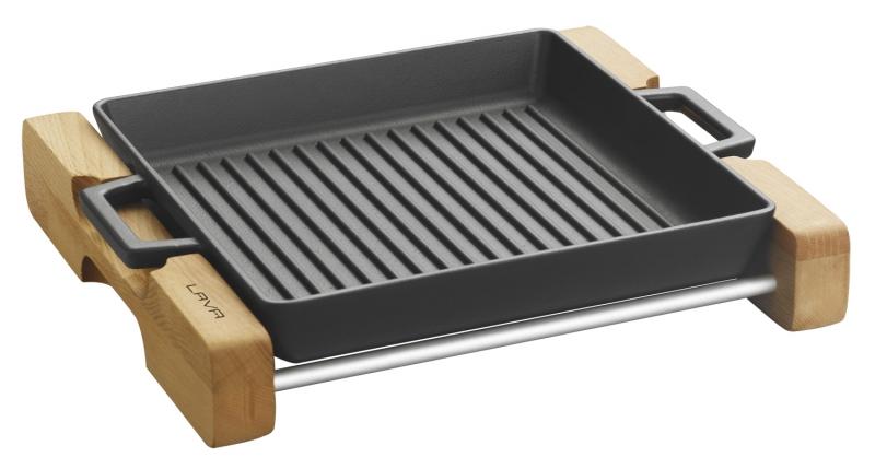 Grill Platte tief 26 x 26cm mit integrierten Metallgriffen
